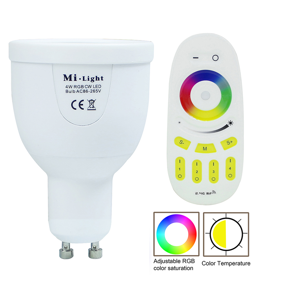 AC85-265V 2.4G Mi.light GU10 5W Color Temperature Adjustable Dual White(CW/WW) CCT LED Bulb+2.4G Wireless Remote Controller купить
