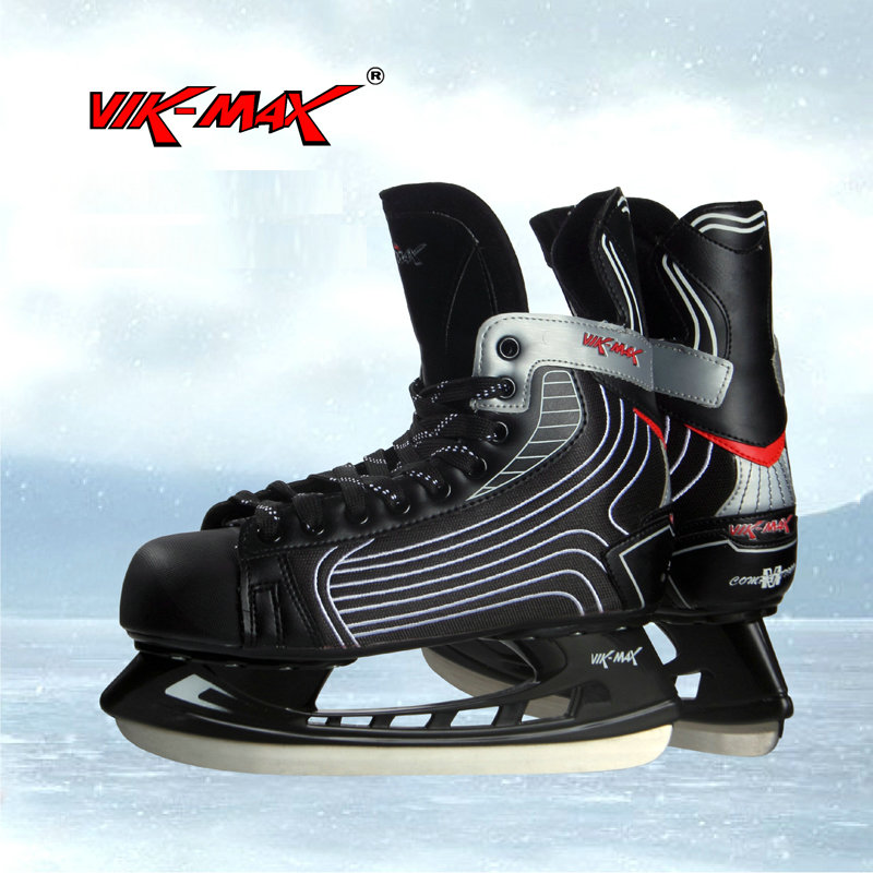 Prix pour VIK-MAX hommes adulte 9511 hockey sur glace skate chaussures dentelle-up ice hockey skate chaussures en stock noir de patins de hockey chaussures