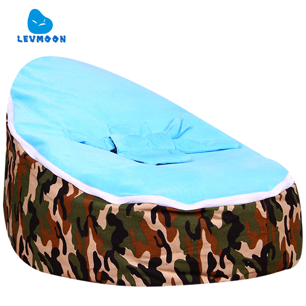 цена на Levmoon Medium Camouflage Beanbags Bean Bag Chair Kids Bed For Sleeping Portable Folding Child Seat Sofa Zac Without The Filler