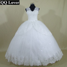 QQ Lover 2017 New Good Quality Lace Tank Ball Gown Wedding Dress Bridal Gown Vestido De Noiva