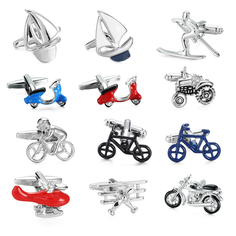 High quality mens shirt cuff links transportation series fashion brand bicycle / battery car / motorcycle / aircraft Cuff Links