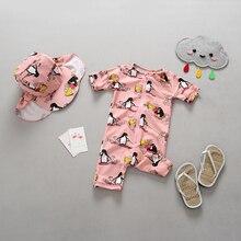 Infant Baby Girl Swimwear Newborn Penguin Print 1-Piece UV Sun Protected Toddler Girls Swimsuit Bathing Suit Beachwear Swim Suit