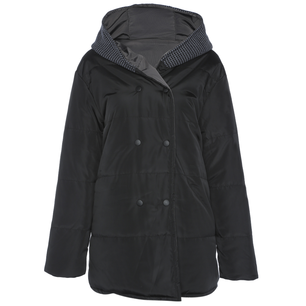 Femme Hiver Longues Chaud À Femmes Vestes Taille Kenancy Capuchon La Parkas Manteaux Pocket 2018 Spliced Manches Plus Mode Black vAf5Z