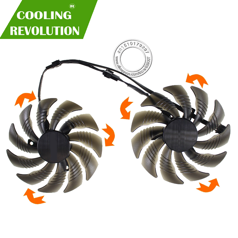 88mm PLD09210S12HH T129215SU tarjeta de vídeo del ventilador del refrigerador para GIGABYTE GTX 1050, 1060, 1070 Ti GV-RX570 580 2 AORUS RX 470 de 480 R9 380X Fan