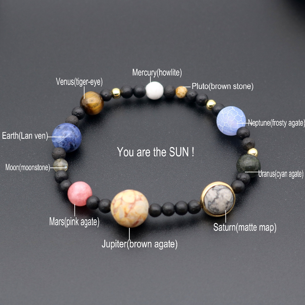 Galaxy Solar System Bracelet Universe Nine Planets Natural Stone Stars Earth Moon Bracelet For Women Man Fashion Jewelry(China)