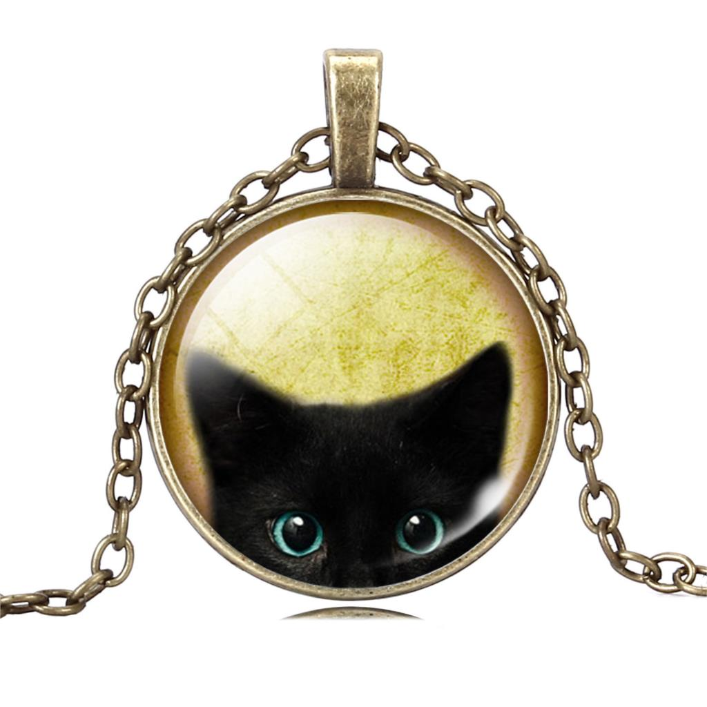UNIQUE NECKLACE GLASS CABOCHON-SILVER BRONZE CHAIN NECKLACE BLACK CAT PICTURE VINTAGE PENDANT NECKLACE-Cat Jewelry-Free Shipping UNIQUE NECKLACE GLASS CABOCHON-SILVER BRONZE CHAIN NECKLACE BLACK CAT PICTURE VINTAGE PENDANT NECKLACE-Cat Jewelry-Free Shipping HTB1hqdMLXXXXXb1XpXXq6xXFXXXN