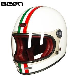 Image 2 - Мотоциклетный шлем BEON, полностью из стекловолокна, винтажный, ультралегкий, в стиле ретро, для езды на мотоцикле