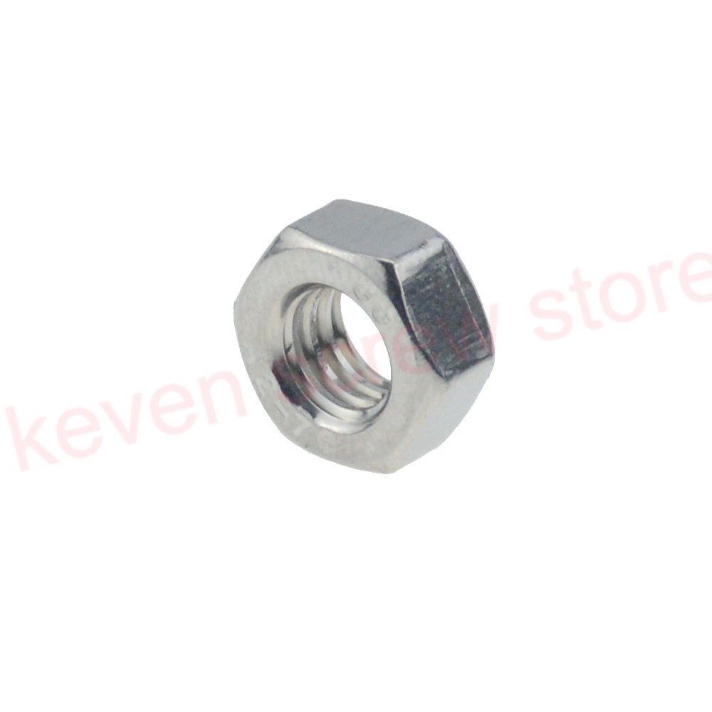 50-100pcs/lot Metric Thread DIN934 M2 M2.5 M3 M4 M5  304 Stainless Steel Hex Nuts