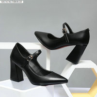 Genuine leather high heels ladies mary janes shoes woman black women pumps mather casual shoes woman large size 42