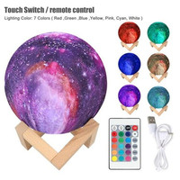 HZFCEW Creative 18CM 3D Printing Star Moon Lamp USB Kids Night Lights 16 Color Change Touch and Remote Control Galaxy Lamp