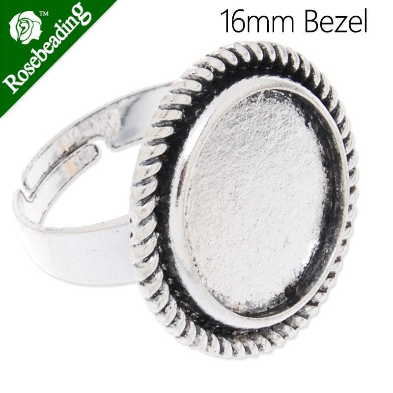 16mm Antique Silver plated Ring Setting With bezel,adjustable,fit 16mm round cabochon,Sold 20pcs/lot-C3792