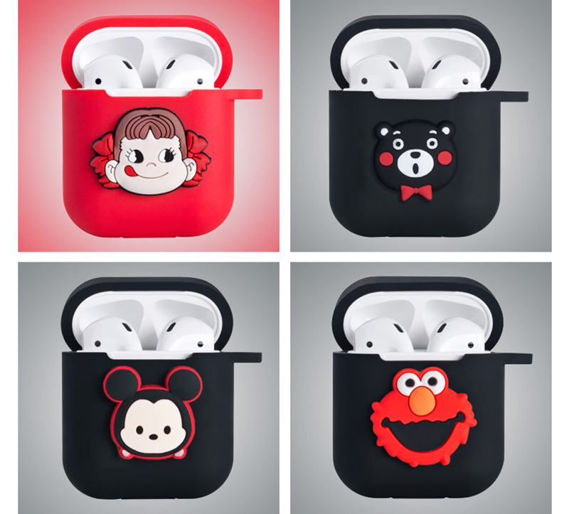 Image 3 - Hello Kitty Melody Mickey Minnie Sesame Street Egg Pattern Silicone Case For Apple Airpods Bluetooth Earphone Bag Cover-in Earphone Accessories from Consumer Electronics