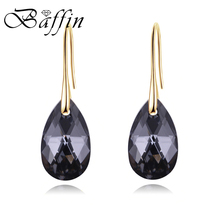 BAFFIN Black Crystals From Swarovski Drop Earrings For Women Retro Vintage Gold Color Pendant Hanging Christmas Gifts Wholesale