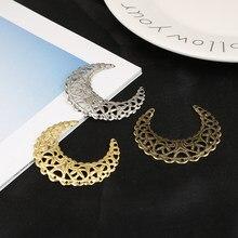 10 pçs ouro/bronze/ródio chapeado 38x41mm lua filigrana flor envolve conector para fazer jóias diy acessórios