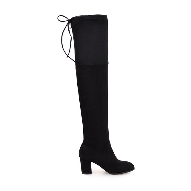 QUTAA 2018 Ladies Autumn/Spring Shoes Square High Heel Women Over The Knee Boots Scrub Black Woman Motorcycle Boots Size 34-43 3