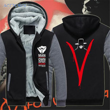 Free shipping winter Men's Clothing Hoodies V for Vendetta cosplay Fleece Zipper Unisex Hoodies 17 styles