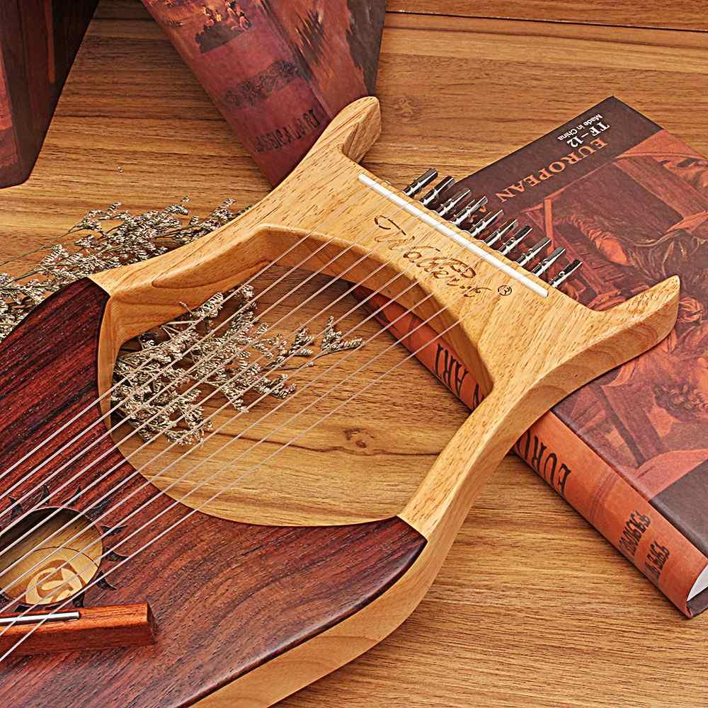Lyre harp 10 металлических струн инструмент из красного дерева для начинающих - 3