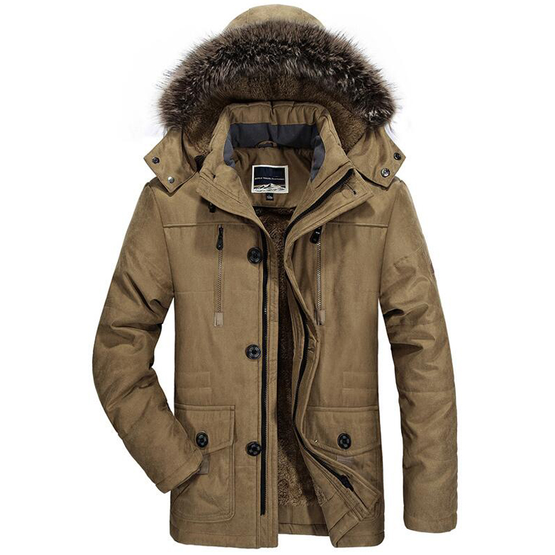 Image 5 - Mens New Fashion Winter Jacket Men Thick Casual Outwear Jackets Men's Fur Collar Windproof Parkas Plus Size 6XL Velvet Warm Coat-in Parkas from Men's Clothing