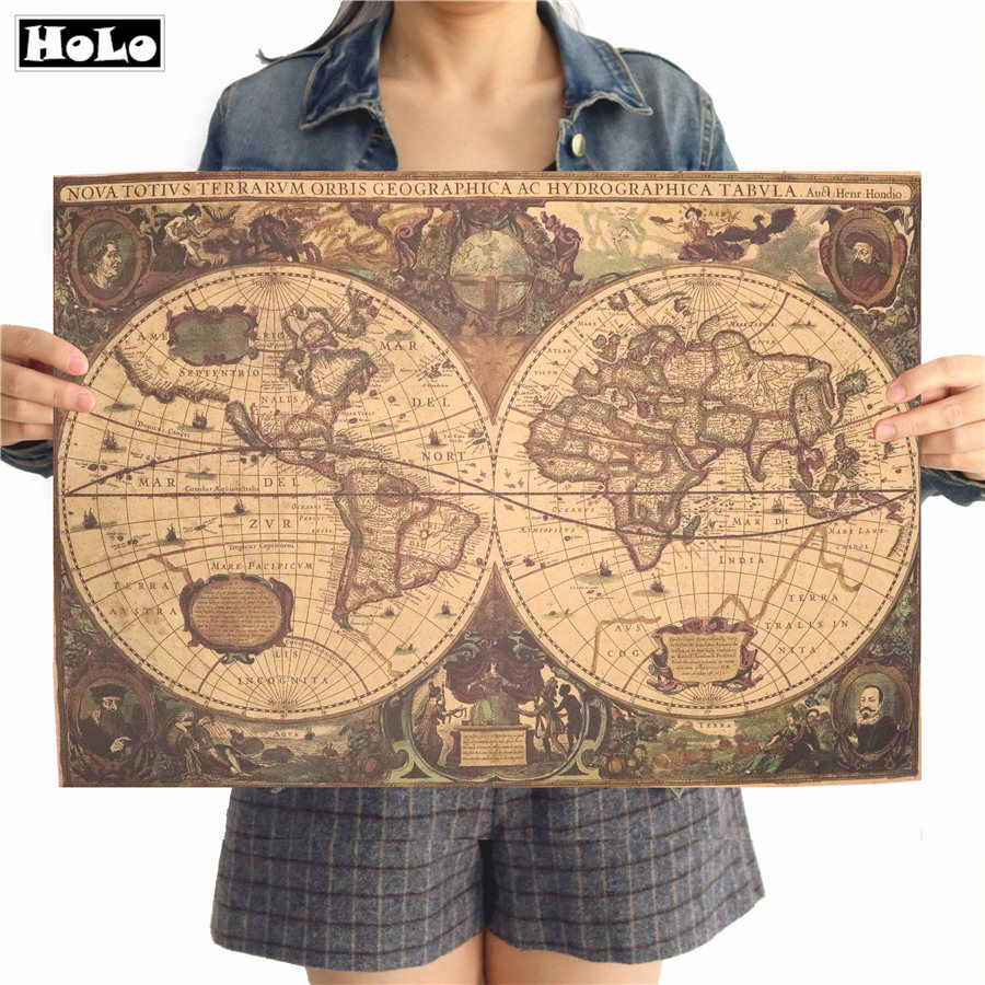 Ancient world nautical sea map Vintage Kraft Paper Poster Retro wall art sticker cafe bar print picture painting 50x65cm