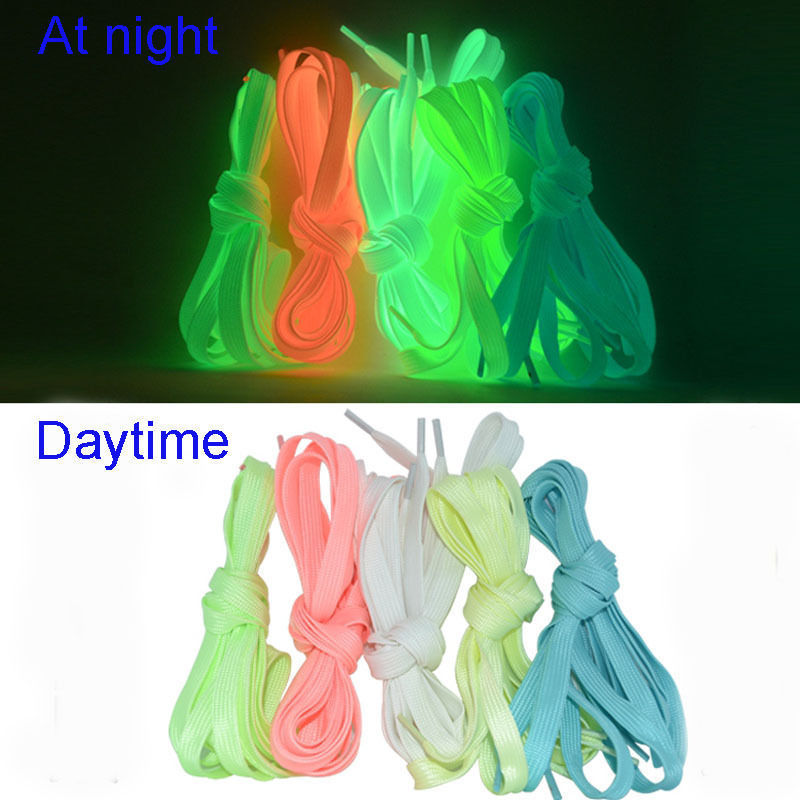 1pair 120cm Sport Luminous Shoelace Glow In The Dark Night Color Fluorescent Shoelace Athletic Sport Flat Shoe Laces Hot Selling synthetic bjd wig long wavy wig hair for 1 3 24 60cm bjd sd dd luts doll dollfie cut fringe