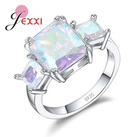 JEXXI Trendy 925 Sterling Silver Rings Three Magnificent Cubic Zirconia Women Jewelry For Wedding Valentine S
