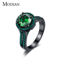 R J 2016 Hight Quality 14KT Black Gold Filled Ring Wedding Fashion Jewelry Green Emerald 5A