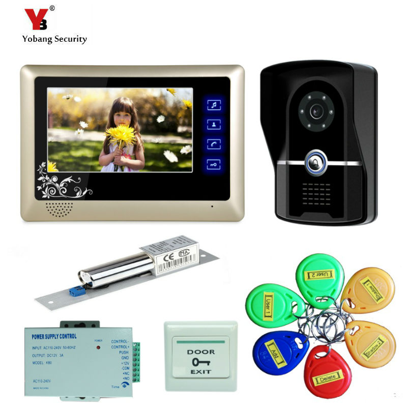 "Yobang Security freeship 7"" Color Video Door Phone Video Intercom Door bell Intercom IR Night Vision Camera Doorbell Kit Video"
