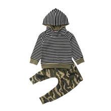 fc04354cd 2 piezas infantiles Bebés Ropa niños establece raya suéter con capucha Tops  pantalones de manga larga algodón ropa Bbay niños 3 .