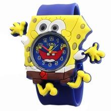 Cartoon SpongeBob kids watches children toy watches 3D eye Loop student clock kid Quartz Wristwatches Girls Boys baby gift 2018