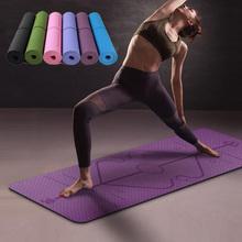 Antypoślizgowa mata do jogi 1830x610x6 mm z linią pomocniczą dla początkujących do fitness gimnastyki tanie tanio CN (pochodzenie) 6 mm (dla początkujących) 0914YJD07 183cm * 61cm
