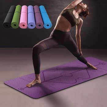 Estera de Yoga TPE de 1830*610*6mm con línea de posición alfombra antideslizante para principiantes de Fitness ambiental gimnasia esteras