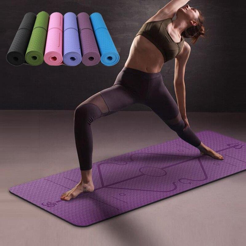 Estera de Yoga TPE de 1830x610x6mm con línea de posición, alfombra antideslizante para principiantes, esteras de gimnasia para Fitness ambiental