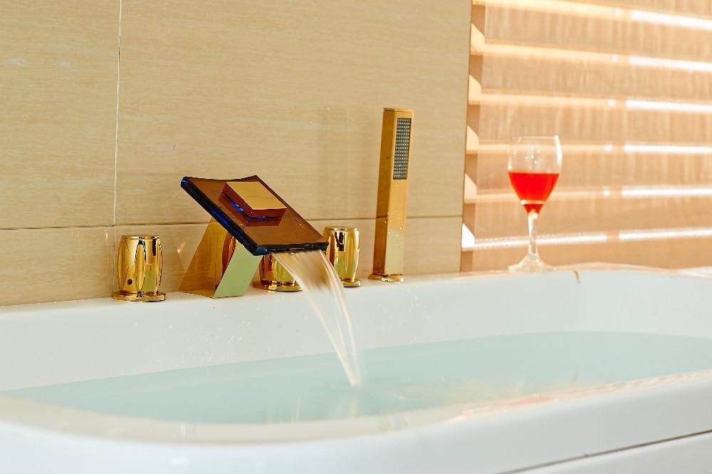 цены New LED Golden Brass Bathroom Shower Faucet 3 Handles Tub Mixer W/ Glass Spout