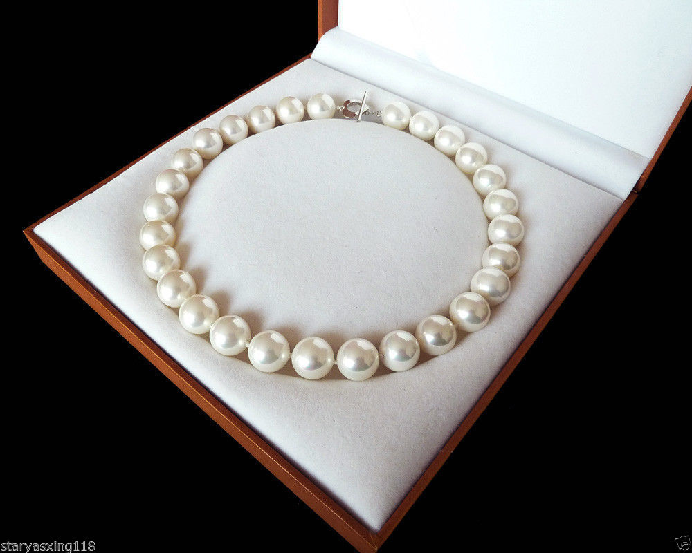 10X10 jewerly free shipping 12mm fashion white south sea shell pearl necklace 18