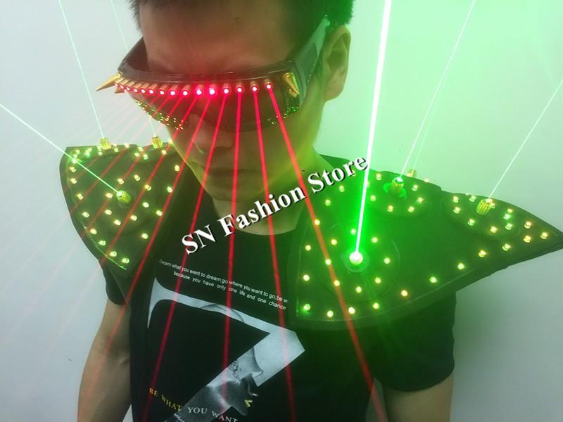 T16 Colorful light ballroom laser vest dj laser costumes dance wears laser glasses red laser suit led clothes shoulder led vest 18