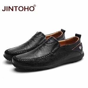 Image 2 - JINTOHO 2019 รองเท้าหนังผู้ชายแบรนด์ Mens แฟชั่นรองเท้าผู้ชายรองเท้าสบายๆหนังรองเท้าหนังแท้รองเท้าหนังผู้ชาย Loafers เรือรองเท้า
