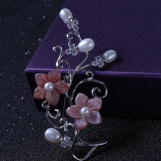 Pinos E Broches de Pérolas de Água Doce Mulheres da moda Acessórios Broche de Flor Do Casamento Prom