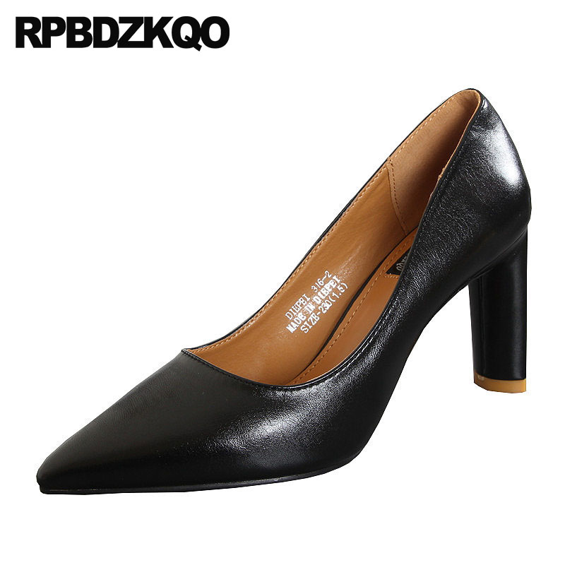 Elegant Runway Pumps Office Designer Fashion Size 4 34 High Heels Chunky Top Quality Pointed Toe Black Luxury Brand Shoes Women fletite top quality elegant embroidery 8 color women pumps pointed toe thin high heels 2018 new fashion luxury women shoes brand