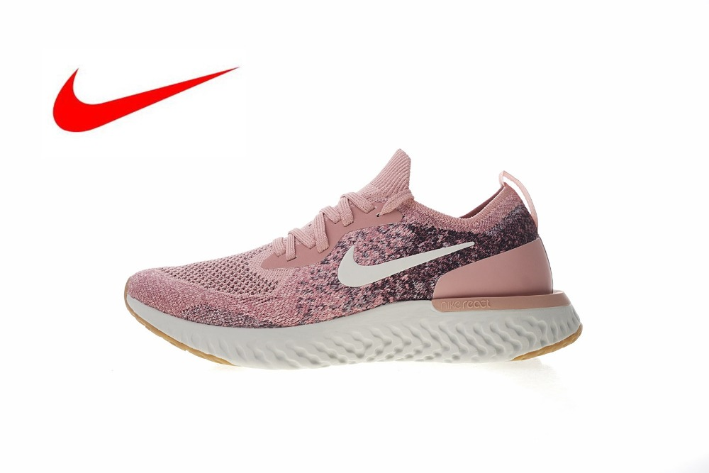 pretty nice 7974c 280e8 Original Nike Epic React Flyknit Women s Running Shoes, Shock Absorbing Non  Slip Wear Resistant White,Breathable -in Running Shoes from Sports ...