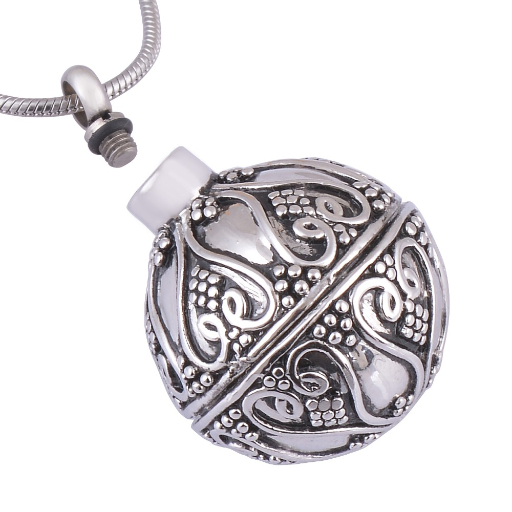 Hollow Ball Cremation  Ashes Jewelry Necklace Antique Silver Memorial Keepsake  Ashes Urn Pendant