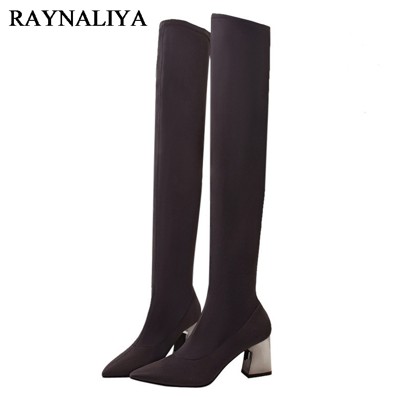 New Winter Women Leisure Fashion Pointed Toe Riding Shoes Woman Over The Knee Boots Suede Square Heel Shoes BT-A0063 ppnu woman winter nubuck genuine leather over the knee snow boots women fashion womens suede thigh high boots ladies shoes flats