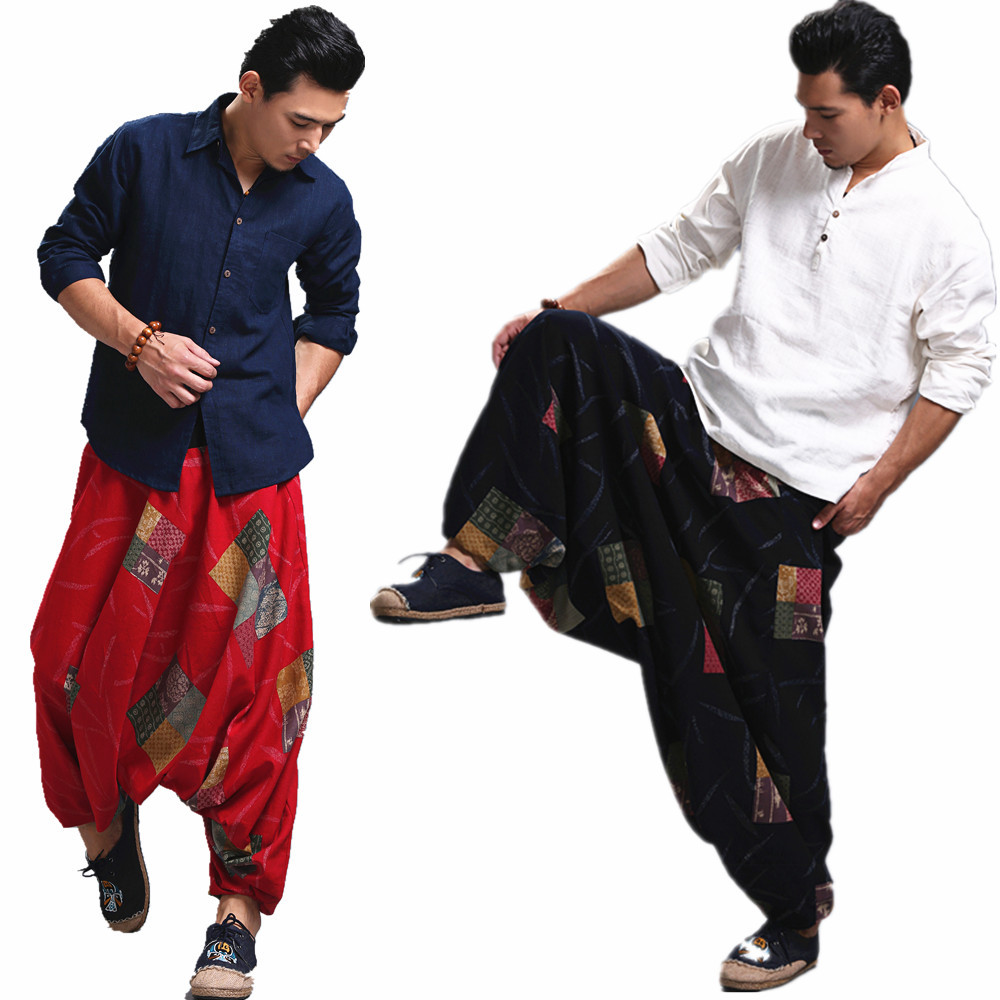 Männer Harem Yoga Hosen Nepal Indien Baumwolle Leinen Yoga Hosen Breite Bein Hippie Hohe Taille Lose Baggy Casual Freizeit Sport Hose üBerlegene Leistung