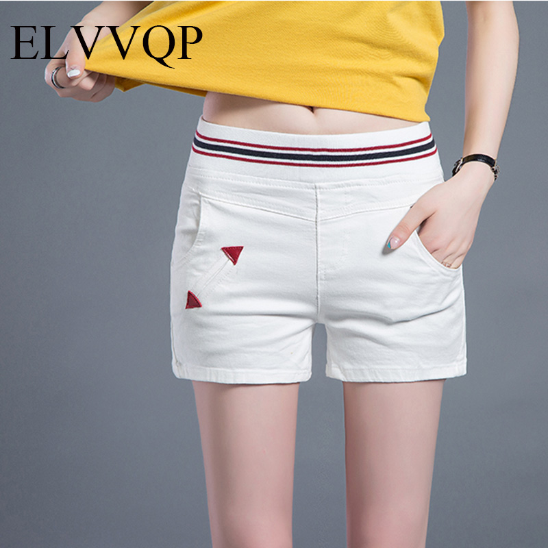 2018 Casual summer   Shorts   Women High Waisted Slim Denim   Shorts   Elastic Waist Jeans   Shorts   Plus Size WF035