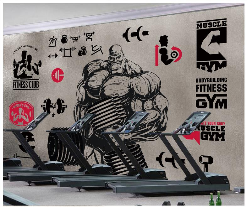 Home Improvement Painting Supplies & Wall Treatments 3d Photo Wallpaper Custom 3d Murals Wallpaper For Walls 3 D Gym Muscular Male Dumbbell Puzzle Vector Background Wall Paper Decor