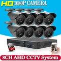Hot,AHD CCTV DVR System 8CH 2.0MP Outdoor Waterproof Cameras CCTV System Kit 8 Channel Video Surveillance Camera HDMI 1080P Kit