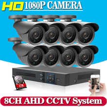 Hot,AHD CCTV DVR System 8CH 2.0MP Outdoor Waterproof Cameras CCTV System Kit 8 Channel Video Surveillance Camera HDMI 1080P Kit