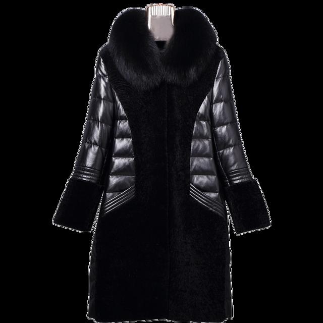 6513464943859 100% Real Fur Coat Fox fur Collar Genuine leather sheepskin Down Jacket  Women Winter Natural Long Wool Overcoat Plus Size ZT353