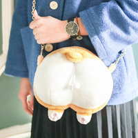 cute cartoon Welsh Corgi Ass Image pack Leisure Japanese fashion Plush Funny gifts Handbags Chain bag Handbags Unisex