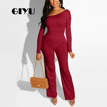 GIYU Solid Long Jumpsuits Women Cold Shoulder Sleeve Overalls Casual Slim Romper 2019 combinaison femme