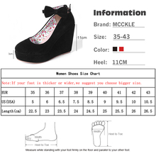 MCCKLE Women High Heels Shoes Fashion Buckle Wedges 2017 Ladies Platform Buckle Bowtie Pumps For Woman Plus Size sapato feminino